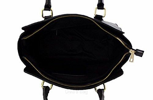 cm Schwarz Tasche Amelia Schwarz Schwarz IT Leder Dunkelbraun 40x28x16 Handbagstore 0zqTBT