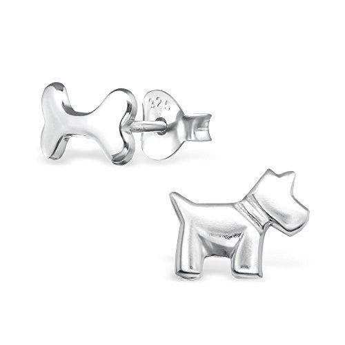 925 Silber Terrier Hund mit Pfoten Ohrringe in 2 Varianten von Monkimau, Kinder-Schmuck, Sterling Silber, Damen, Frauen, Mädchen-Ohrstecker (Hund Terrier)