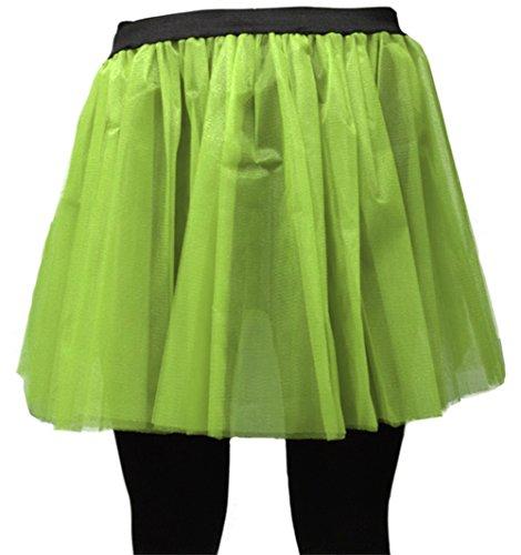 (A-Express Damen Lange 36cm Tütü Rock Neon Tutu Netz Tüllrock 3 Lagen Petticoat für verrücktes Kleid Party Kostüm - (Grün, Größe 46-54))