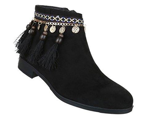 Damen Stiefeletten Schuhe Kurzschaft Western Boots Schwarz Beige 36 37 38 39 40 41 Schwarz