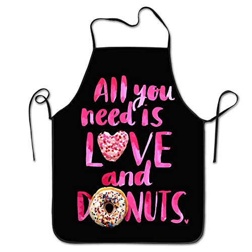 Of Kostüm Edge Love - HTETRERW Love and Donuts Cooking Apron Kitchen Apron, Lock Edge Waterproof Durable String Adjustable Easy Care Aprons for Women Men Chef