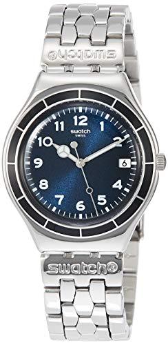 Swatch Herren Analog Quarz Uhr mit Edelstahl Armband YGS476G