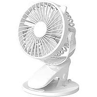 Sisyria Clip Ventilador, Ventilador Mesa Recargable Eléctrica Pinza Escritorio Ventilador Ventilador Coche Cama Mano Ventilador USB, 360 ° Rotación, Bajo Nivel Ruido, Natural Aire Que Fluye,Blanco