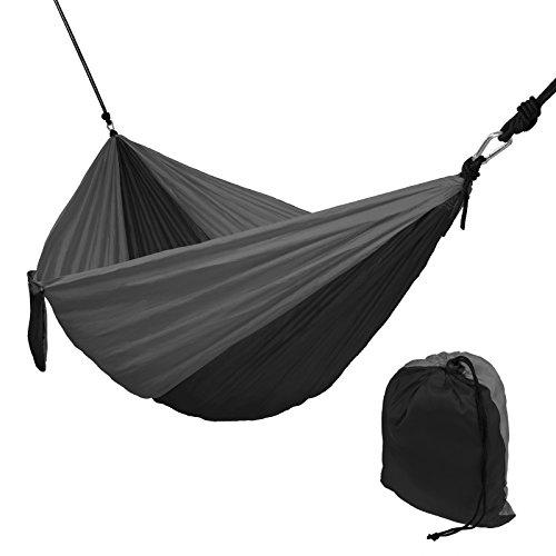 Hängematte Ultraleicht aus Fallschirm Nylon 265 x 140 cm in Verschiedenen Farben Traglast 300 kg Reisehängematte Outdoor Camping Reise-Hängematte inkl. Befestigungs-Set, Farbe:Grey Stone