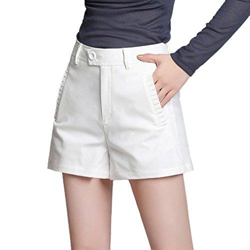 Dexinx Damen mit Charme Loser tägliches Leben Breites Bein Hose mit Knopf Sommer Einfarbig Weich Eleganten Shorts Weiß L (Das Leben Ist Gut Lounge-hose)