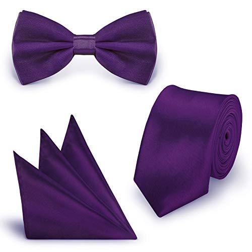 StickandShine SET Krawatte Fliege Einstecktuch Aubergine einfarbig uni aus Polyester
