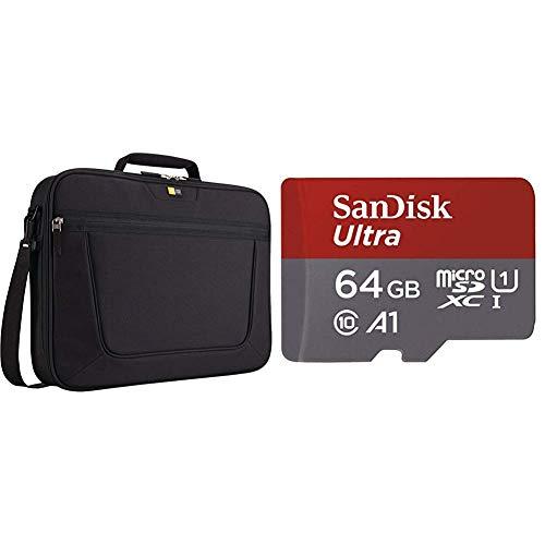 """Case Logic VNCi217 Sacoche en nylon pour Ordinateur portable 17,3"""" Noir & Carte Mémoire microSDXC SanDisk Ultra 64GB + Adaptateur SD"""