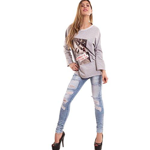 Toocool - Felpa donna maglia cotone maniche lunghe varie fantasie fiori diva nuova CC-1299 fantasia 3 grigio