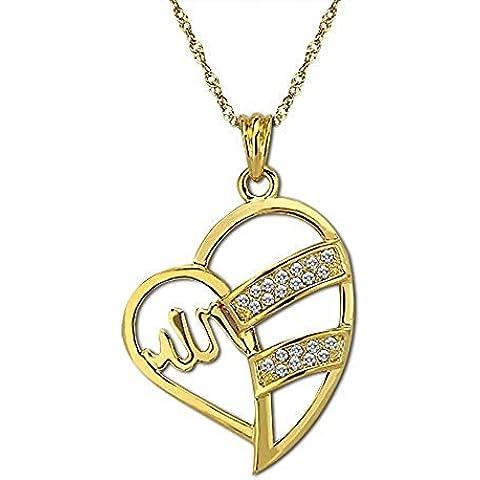 Oro placcato 18 k con pendente a forma di cuore, Islam Allah & Collana