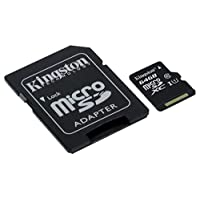 Kingston SDCS/64 GB MicroSD Canvas Select Class 10 UHS-I speeds Up to 80 MB/s Read (SD Adapter Included) - Bring Your HD Videos to Life