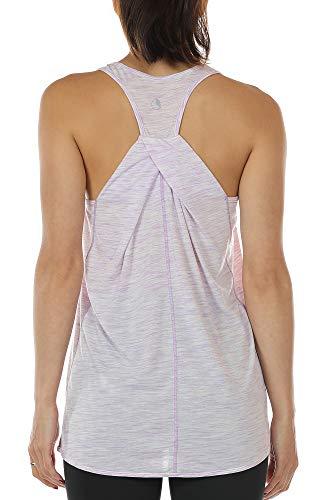 icyzone Damen Yoga Fitness Tank Top Lang - Training Jogging Ärmelloses Shirt Sport Oberteil Tops (M, Lilac)