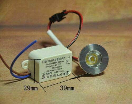 10x unidades 1 W LED Downlight empotrado Mini Kit Armario Lamps 3000...