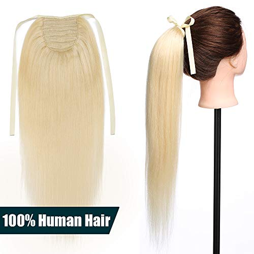 50cm coda capelli extension veri con clip #613 biondo chiarissimo - remy human hair ponytail cavallo tie up fascia unica clip in hair naturali lisci 95g