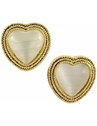 Young & Forever Valentine Gift Special Gold Plated Opal Heart Stud Earrings For Women By CrazeeMania