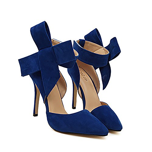 Xianshu Womens Bow Tie High Heel Pumps Party Dress Court Shoes(Blue-37)