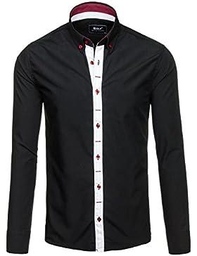 BOLF Hombre Camisa Elegante Abotonada Cuello Americano Estilo Casual 2B2