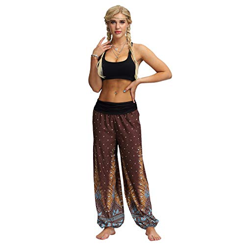 HWTOP Hosen Yogahosen Herren Damen Sporthose Pumphose Männer Frauen Haremshose Freizeit Trouser Lose Hippy Yoga Hose High Waist Baggy Boho Aladdin Pants Breite Beinhosen, Brown -