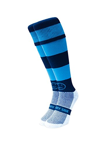 WackySox Navy and Sky Hooped Sports Socks