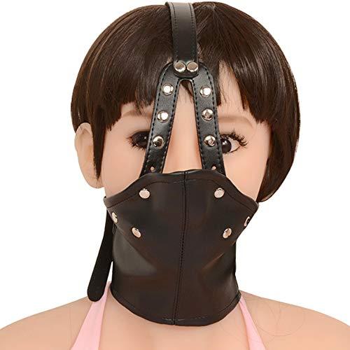 Hunde Valentinstag Kostüm - YA Verstellbares Leder-Kostüm mit Unisex-Masken, Vollverdeckte Kapuzenmaske, verriegeltes abschließbares Kopfgeschirr mit Mundkugelknebel für Kostüm