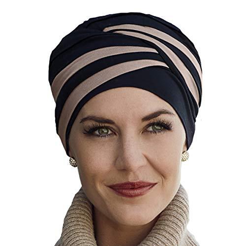 Bonnet en bambou Shanti noir et marron pour traitement de chimiothérapie