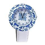 SHUANGCONG Orologio da Donna in Ceramica Tonda Orologio da Donna in Porcellana Blu e Bianca Stile Cina e Blu