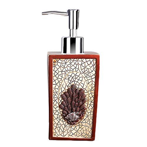 Seestern Koralle Lotion Flasche, Seife Spender Hand Desinfektionsmittel Box Dusche Gel Box Harz Material Hotel Badezimmer Desinfektionsmittel Flasche Drücken Sie-Korallenrot - Licht Blau Gel Duschgel