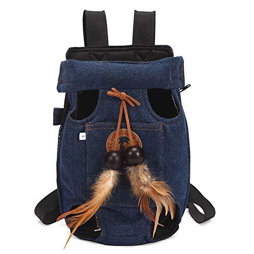 WQING Pet Carrier Rucksack Verstellbare Pet Front Cat Dog Carrier Rucksack Reisetasche Easy-Fit für unterwegs Wandern,Blue,S -