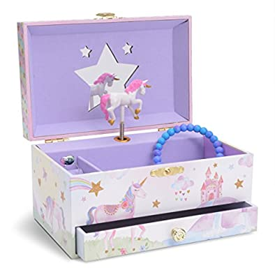 JewelKeeper Musical Jewellery Box for Girls with Pill-out Drawer - Multiple Design and Tune Options Available