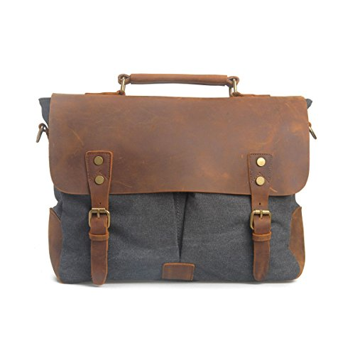 VRIKOO Vintage Genuine Leather Military Canvas 14 Laptop Briefcase Messenger Bag (Coral Green) Grigio scuro