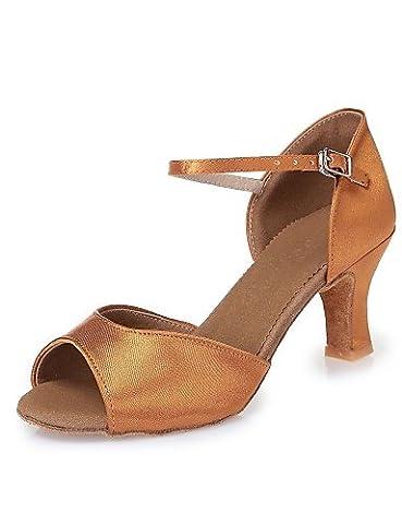La mode moderne femmes Sandales Chaussures de danse latine Satin Satin talons Talon marron intérieur CL44,Dark