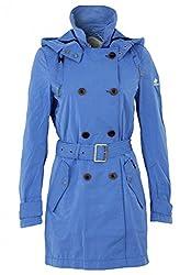 khujo Damen Jacke Parana Trenchcoat mit Kapuze blau Farbe blau, Größe M