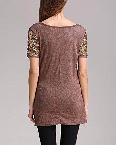 Damen kurze Ärmel Spleiß Basic Pailletten kurzärmliges Shirt Sequin Bluse Tops Kaffeebraun