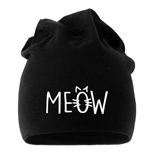 Jersey Beanie Katze Meow Miau Cat Mütze bedruckt Herren Damen Moonworks® schwarz unisize (Jersey Katze)