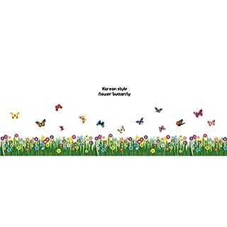 Mur d'angle Stickers herbe Fleurs Papillons mur d'angle décalcomanies Salon Chambre Plinthe Plinthe Line Wall Stickers Muraux Art