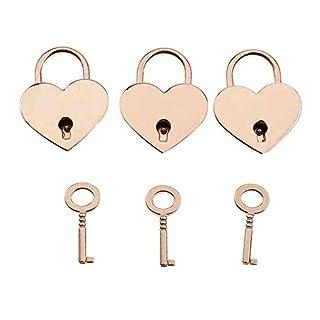 NiceButy Satz von 3 Vintage-Metal Heart Shaped Padlocks Mini Schlösser mit Schlüssel für Schmuck Storage Box-Tagebuch-Buch - Gold DIY Tools