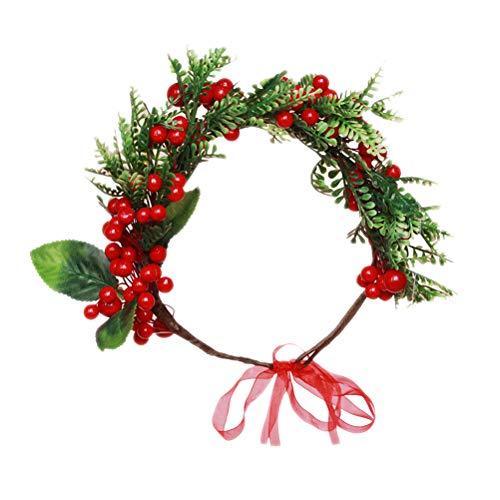 Amosfun Floral Crown Garland Kranz Stirnband Brautjungfer Kopfschmuck Simulation rote Beere Dekoration Haarband für Hochzeit Holiday Party