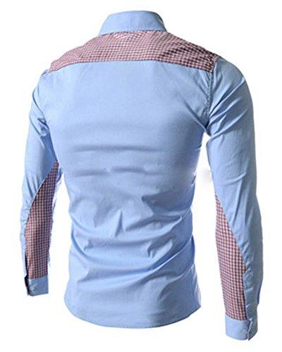 Homme Chemises Slim Fit Manche Longue Casual Shirt Tops Bleu Ciel