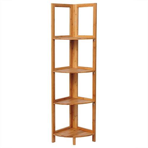 WOLTU RG9254br Scaffale Angolare 4 Ripiani per Bagno Mensola in bambù Cucina Libreria Fioriera Decorazione per Balcone