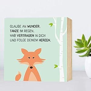 Glaube-an-Wunder-Fuchs - einzigartiges Holzbild 15x15x2cm zum Hinstellen/Aufhängen, echter Fotodruck mit Spruch auf Holz - Wand-Bild Aufsteller Zuhause Büro zur Dekoration oder als Geschenk
