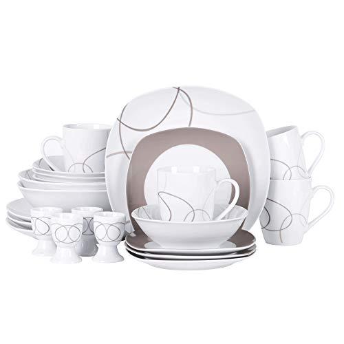 VEWEET Porzellan Kombiservice 'Nikita' 22-teilig Set   Geschirr Set mit Dessertteller, Speiseteller, Müslischalen, Kaffeebecher, Eierbecher und Salatschüssel für 4 Personen
