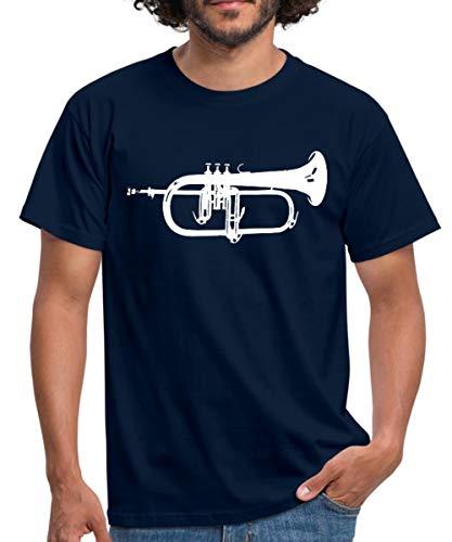 Silhouette Flügelhorn Männer T-Shirt, XL, Navy