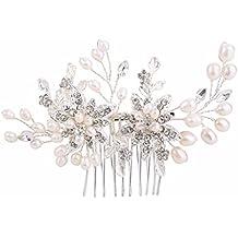 Brilove da donna a goccia con perle d' acqua dolce da sposa fiore fatto a mano DIY pieghevole filigrana pettine color avorio