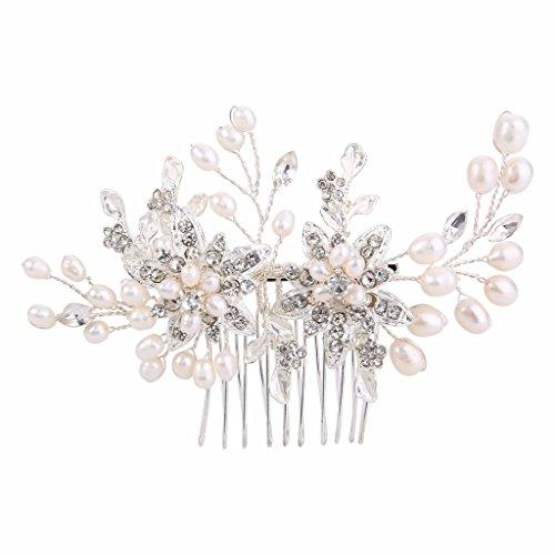 Clearine Damen Künstliche Perlen Tropfen Blume Handarbeit DIY Braut Filigran Haarkamm Ivory-Farbe