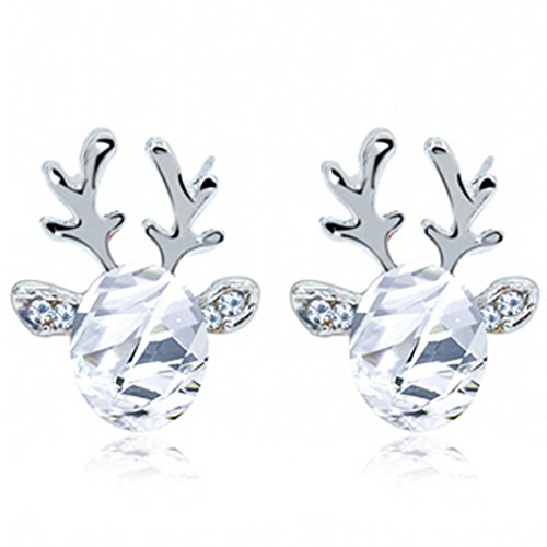 HUIHUI Ohrringe, Ohrstecker Ohrschmuck Edelstein Ohrringe Luxus dreidimensionale Rentier Earing Ohrstecker Silber Ohrstecker für Mädchen Damen Kinder Frauen Allergiefrei (Weiß)
