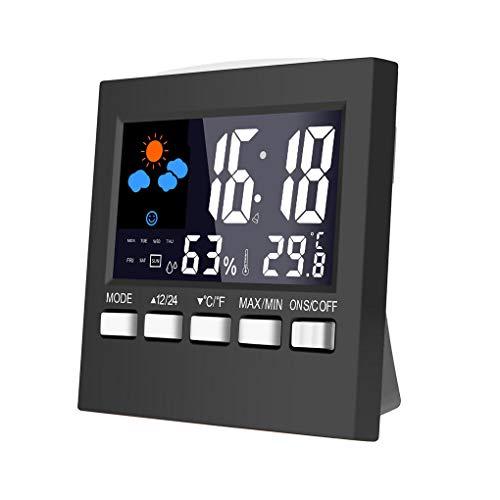 Mengonee Reloj Despertador eléctrico de Escritorio de la Pantalla LCD Colorido del Sonido El Control...