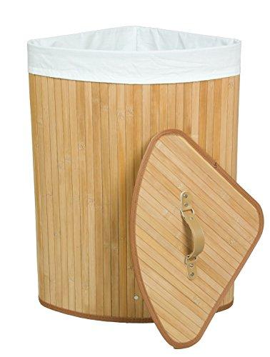 Bambus-ecke (Kronenburg Bambus Wäschekorb Wäschesammler Eckig mit Deckel, 60 x 35 x 35 cm, Natur)