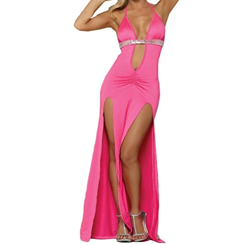 Hmeng Damen Sexy Tiefem V-Ausschnitt ❤️Halter Backless Slit Mini Party Club Kleid (Pink, XL)