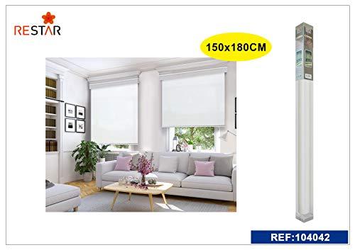 REAL STAR Estor Enrollable translúcido Liso (Blanco, 150x180cm)