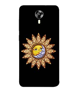 PrintVisa Designer Back Case Cover for Micromax Canvas Xpress 2 E313 (Sun Moon Hug Kiss Chakra Image of Lovers)