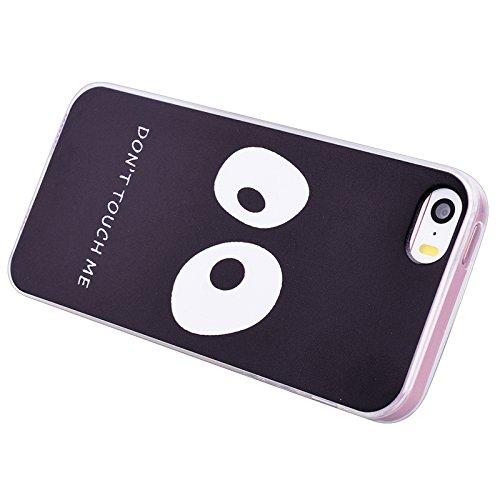iPhone 5 / 5S / SE Coque, Yokata Ultra Mince Prints Motif Cover avec Silicone Gel Bumper Transparente Housse Case + 1*Stylet - Don't Touch Me Don't Touch Me